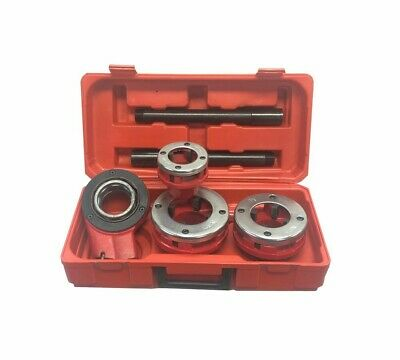 Ratchet Pipe Threader Kit Set With 3 Dies 1-14 To 2 Inch And Storage Case