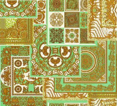 Versace 4 Home Wallpaper 370482 Ornament Green Gold Metallic Fleece Wallpaper