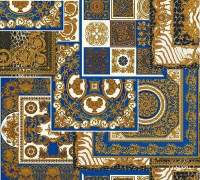 Versace 4 Home Wallpaper 370481 Ornament Blue Gold Metallic Fleece Wallpaper