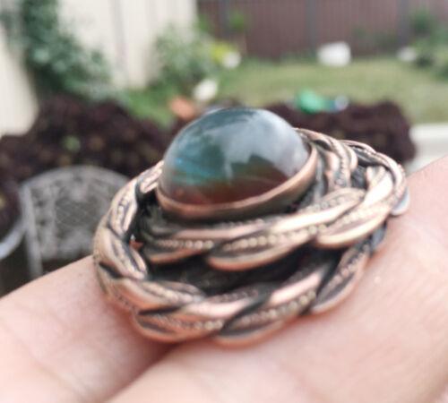 Antique BOHEMIAN SAPHIRET Large Ring , 15mm round stone.