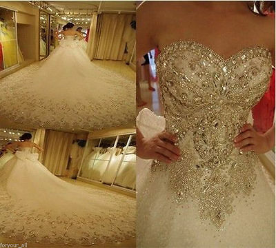 Cathedral White Ivory Wedding Dress Bridal Gown Custom Size 6 8 10 12 14 16 18