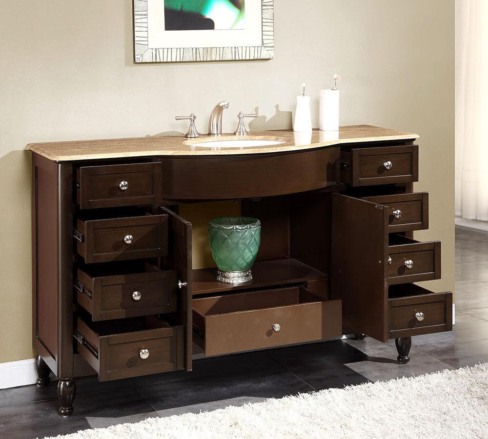 58-inch Travertine Top Bathroom Single Sink Vanity Large ...