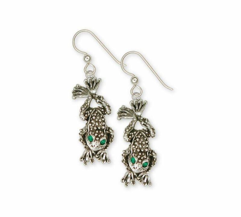 Toad Earrings Jewelry Sterling Silver Handmade Toad  Earrings TD1-XE