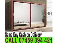 A German 2 Door Sliding mirror wardrob White Black Wenge Oak Walnut Finish- Brand New