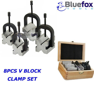 8 Pc V-block Clamp Bar Double Sided 90 Precision Hardened Steel Wooden Box