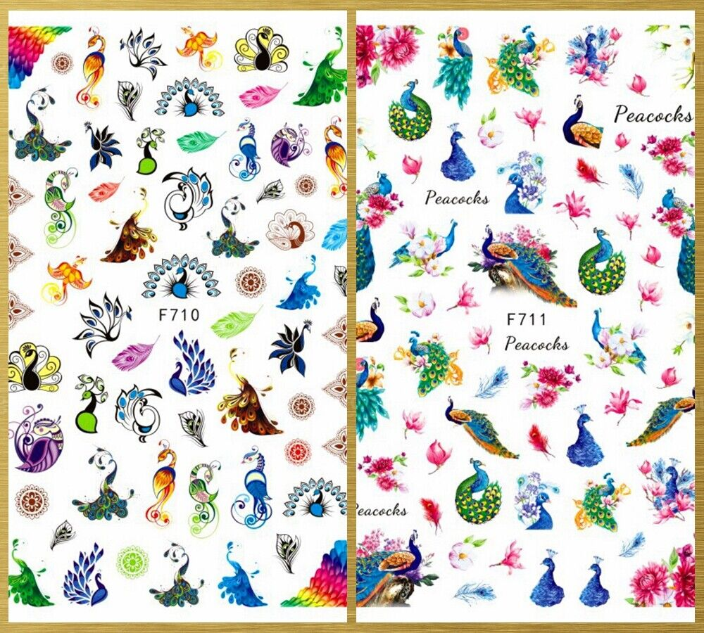 Abstract Peacock Feather Flowers Self-Adhesive 3D Nail Sticker - $3.75