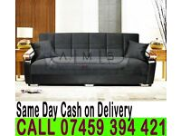 3 Seater Fabric Storage Sofa Bed Settee with Wooden Leather Arm rests -