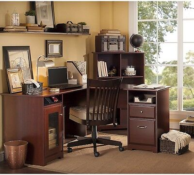 L Shaped Desks For Home Office Cherry Executive Computer Workstation Filing Draw for sale  San Marcos