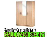 A READY BUILT- 3 DOOR WARDROBE WITH SHELVE HANGING RAIL IN BEECH BROWN OAK WHITE PRE ASSEMLBED