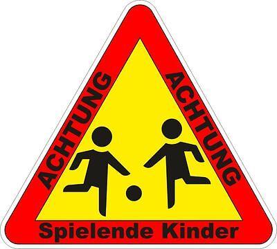 1x ACHTUNG SPIELENDE KINDER Warnhinweis Spielplatz Aufkleber 100x90mm 10135