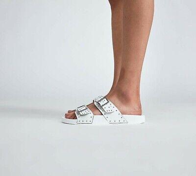 Womens Kaltur Pinstud 2 Strap White Slides (PFC) RRP £34.99