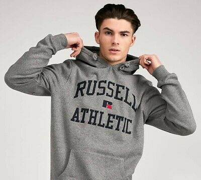 MENS RUSSELL ATHLETIC MONROE ARCH LOGO HOODED TOP GREY (SA2) RRP £64.99
