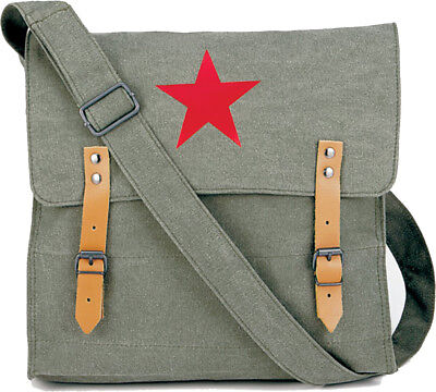 Sage Green Vintage Canvas Medic Red Star Military Shoulder Bag for sale  Shipping to India