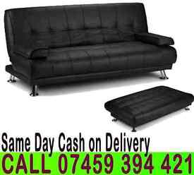 50% Off Brand New 3 Seater Sleeper Leather Sofa Bed Settee in Black/Brown Color