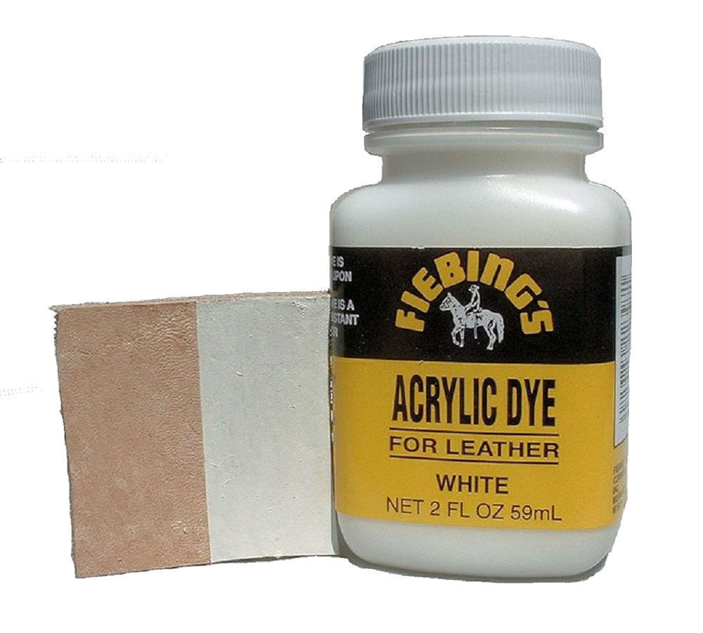 Fiebings Acrylic Dye For Smooth Leather Water Resistant Quick Dry WHITE 2oz Clothing & Shoe Care