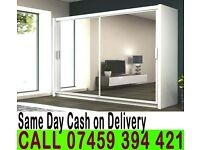 A GERMAN 2 DOOR SLIDING WARDROBE 163CM WIDE WITH FULL MIRRORS IN BLACK WHITE COLOR