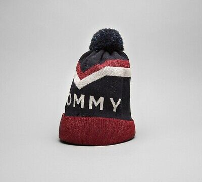 Womens Tommy Hilfiger Chevron Pom Navy/Glitter Red Bobble Hat (PA1) RRP £39.99