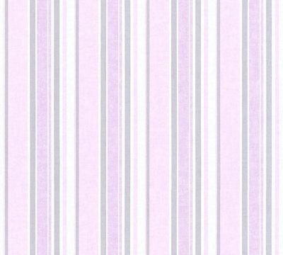 Lila Rosa Streifen (Vliestapete Kinder Streifen Muster rosa lila flieder 35849-4 Little Stars girl)