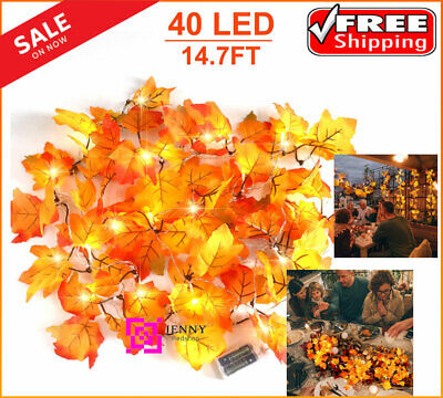 Thanksgiving Decorations Lighted Fall Leaf Garland - 40 Led - FREE SHIIPING USA