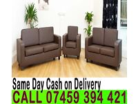 3 and 2 Seater Faux Leather Sofa Settee Brand New