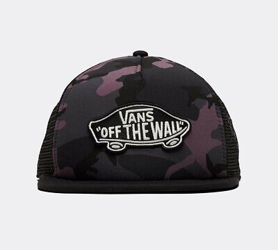 Vans Mens Classic Patch Trucker Plus Cap Black Plum Camo Hat Brand New
