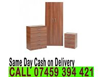 A Fully Assembled 2 Door Wardrob Set with Chest of Drawer and Bedside BRAND NEW PRE FITTED