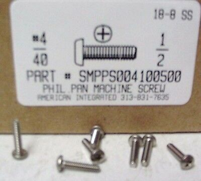 4-40x12 Pan Head Phillips Machine Screws Stainless Steel 65