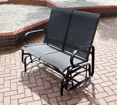 Kingfisher 2 Seater Glider Rocking Bench With Mesh Seat for Garden Patio- Grey 2 Seater Glider