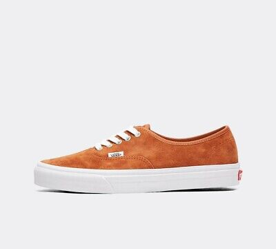 Mens Vans Authentic Pig Suede Leather Brown/True White Trainers (SF1) RRP £58.99 Brown White Leather