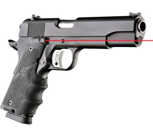 Hogue Laser Enhanced Grip 1911 Full Size Govt Model Black Rubber Grooves 45080