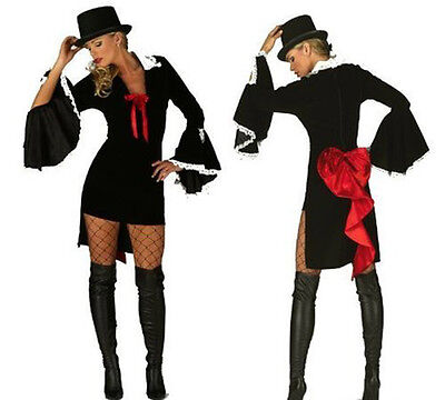 Top Hat and Tail Coat Burlesque Vampire Dress and Hat Set Ring Master Halloween (Ring Master Halloween Kostüme)