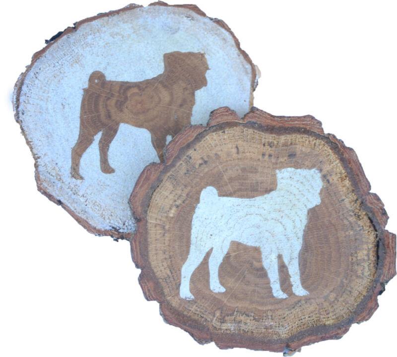Pug Coaster Reclaimed Wood