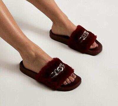 Womens Kaltur Chain Fur Burgundy Slides (PF3) RRP £23.99