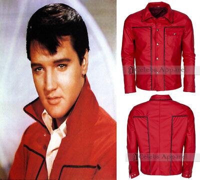 Elvis Presley King Of Rock Fashion Vintage Celebrity Red Leather Jacket Costume