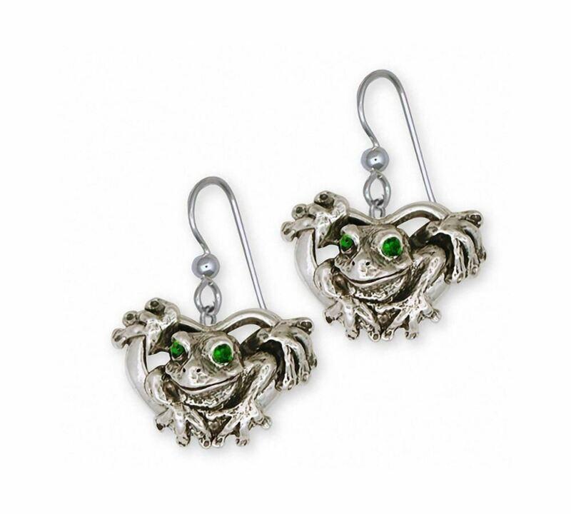 Frog Earrings Jewelry Sterling Silver Handmade Frog Earrings FG5-XE