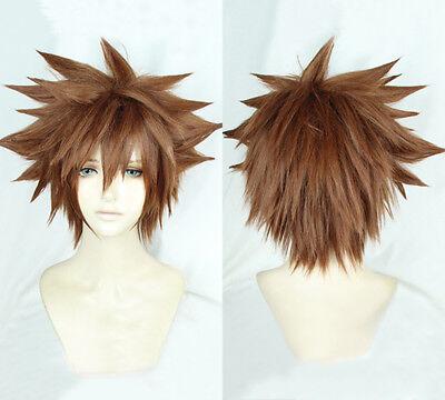 Kingdom Hearts III Sora Short Afro Pale Brown Heat Resistant Cosplay Hair Wig US - Brown Afro