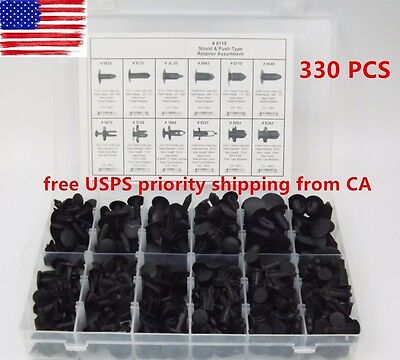 330 Clips Automotive Push Pins Retainers Assortment For GM Ford For Toyota Honda