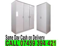 BRAND NEW TWO/THREE DOORS HIGH GLOSS WARDROBE WITH SHELVES, HANGING RAILS