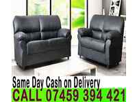 HIGH QUALITY KANDY 3 AND 2 SEATER PU LEATHER SOFA SUITE IN BLACK AND BROWN ARM CHAIR AVAILABLE