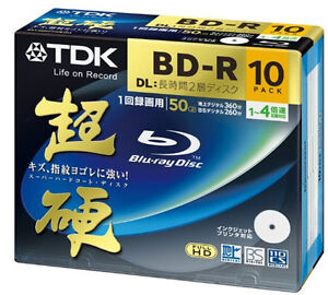 10 TDK Double Layer 3d Blu Ray Rohlinge 50 gb 4X Speed Full Printable Bluray