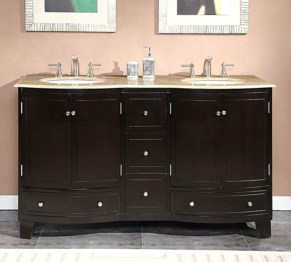 60-inch Travertine Stone Top Bathroom Vanity Dual Lavatory Sink Cabinet 0703TR