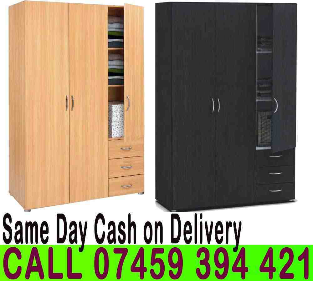 BRAND NEW 3 DOOR WARDROBE WITH 3 DRAWERSin Clapham, LondonGumtree - Dimensions Height 184 cm Width 121 cm Depth 50 cm Specifications 4 Shelves 1 Hanging Rail 3 Drawer Flat Pack in Boxes Requires Self Assembly Colours Beech, Black, White, Oak