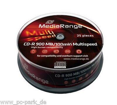 1 x 25er Spindel [MR222] 25x MediaRange Rohling CD-R 48x 100 Min 900Mb Rohlinge