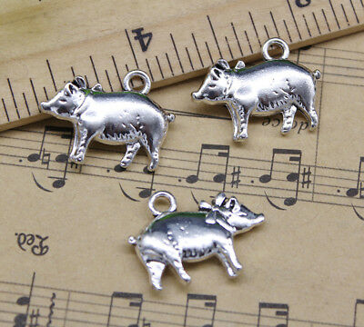 Pig Crafts (Cute Fat Pig Alloy Charms Pendants Crafts Jewelry Making DIY 20*15mm)