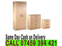 A 2 Door Wardrob Set Already Fitted Chest of Drawer and Bedside Table- Brand New