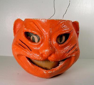 Vintage Antique Halloween Paper Mache Orange Cat Jack O Lantern 40s-50s
