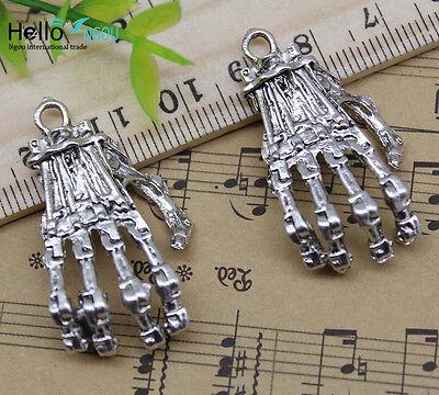 Wholesale Skeletons (Wholesale retro Jewelry Making skeleton hand bone alloy charms pendant)