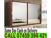 A German 2 Door Sliding mirror wardrob White Black Wenge Oak Walnut Finish- Brand New