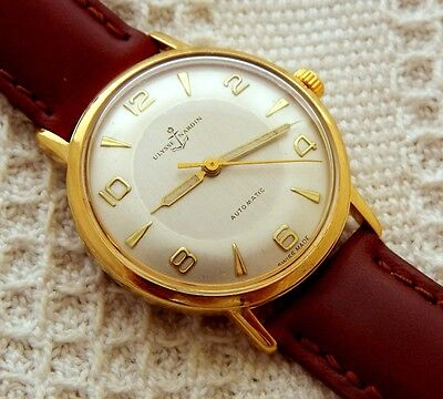 VINTAGE ULYSSE NARDIN SILVER BRUSHED DIAL 34MM GOLD PLATED CASE AUTOMATIC