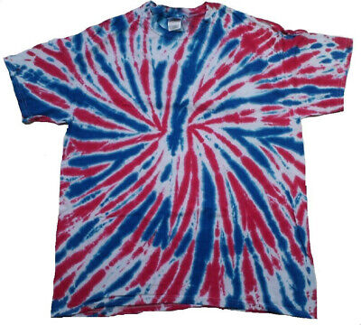 Colortone Kids Tie Dye T-Shirts, XS (2/4), Blue, White and Red, 100%